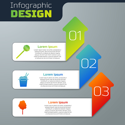 Set Lollipop, Asian noodles and chopsticks and Cotton candy. Business infographic template. Vector