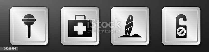 istock Set Lollipop, First aid kit, Surfboard and Please do not disturb icon. Silver square button. Vector 1250464991