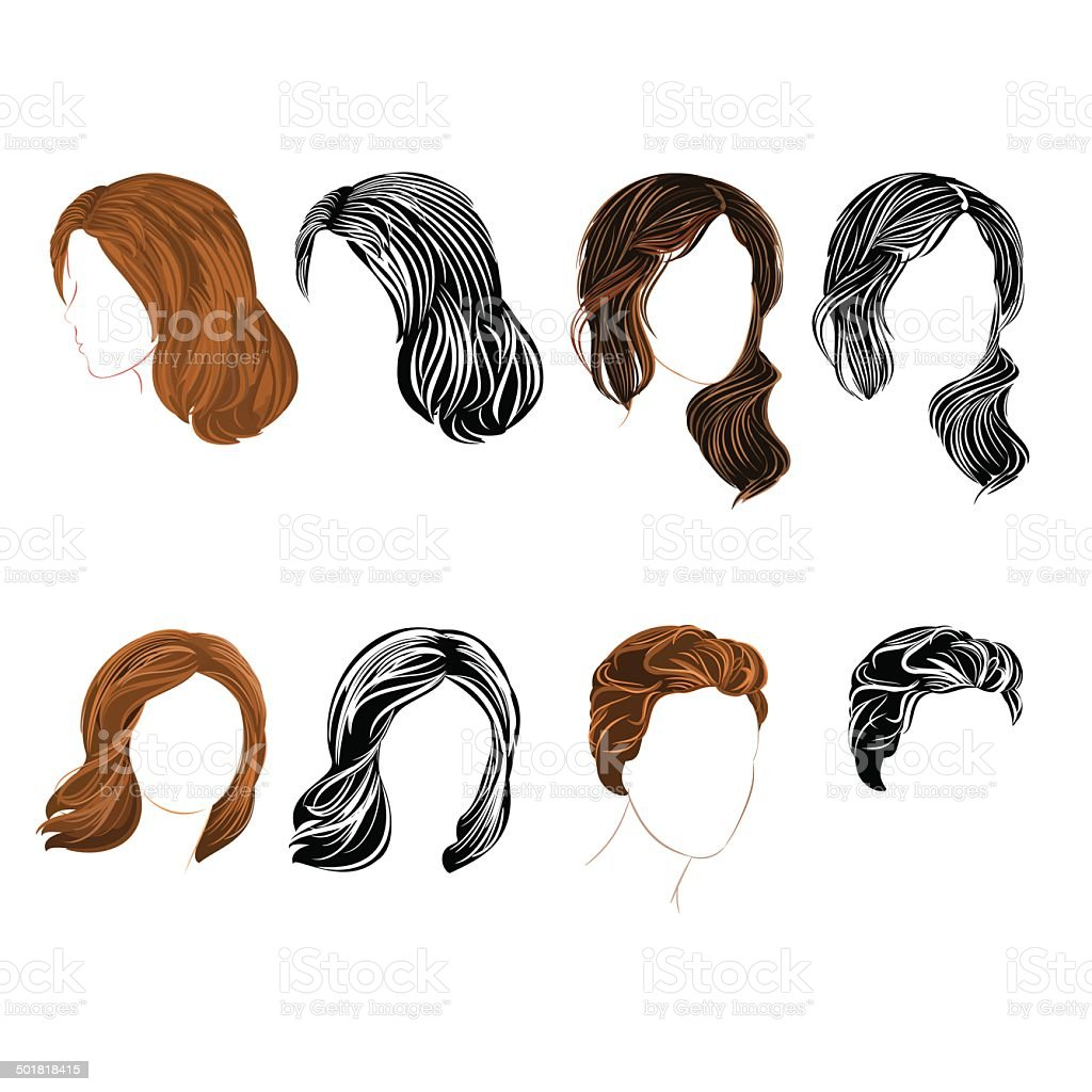 Set long and short hair  natural and silhouette vector art illustration