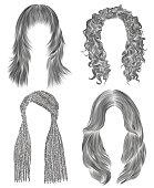 set long woman hairs  . black  pencil drawing sketch . women fashion beauty style. african cornrows . fringe curls cascade.