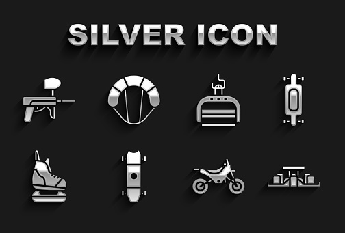 Set Longboard or skateboard, Formula 1 racing car, Mountain bike, Skates, Ski lift, Paintball gun and Parachute icon. Vector