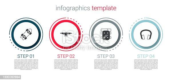 istock Set Longboard or skateboard, Skateboard wheel, Knee pads and Headphones. Business infographic template. Vector 1330262694