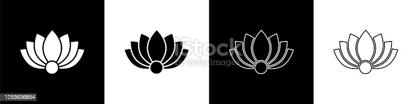 istock Set Lotus flower icon isolated on black and white background. Vector Illustration 1253636854