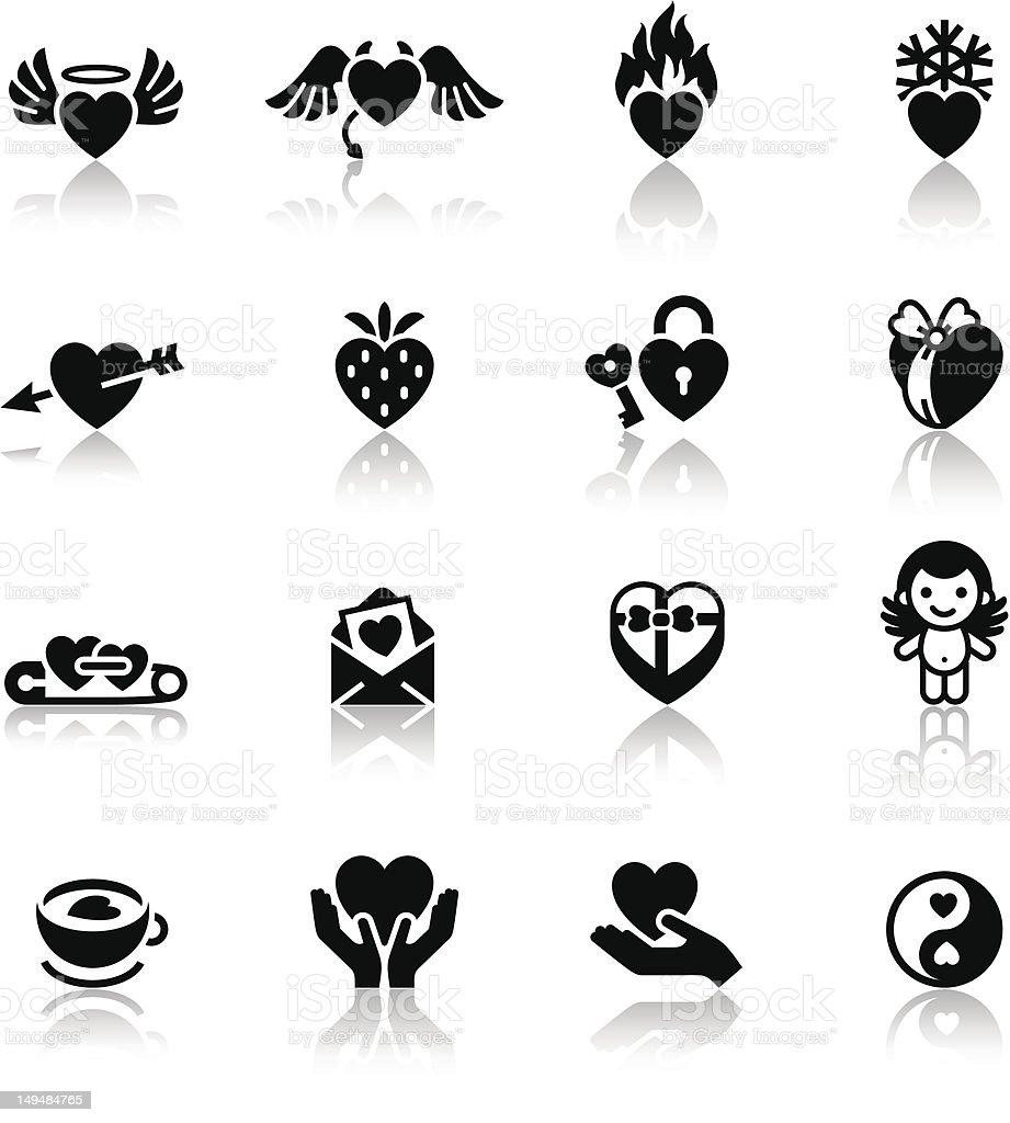 Set love black icons vector art illustration