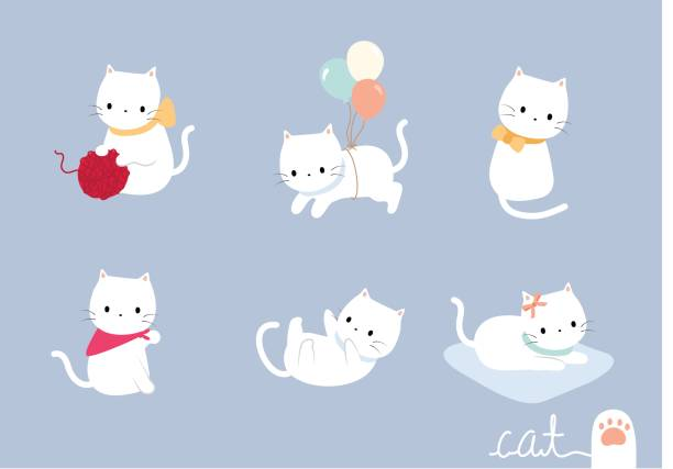set lovely cat - cat stock illustrations, clip art, cartoons, & icons