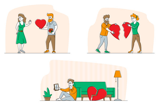 Set Lovers in End of Loving Relations Concept. Men and Women Characters with Broken Heart Blaming Each Other, Feel Great Sorrow. Disagreement, Cheating and Parting. Linear People Vector Illustration Set Lovers in End of Loving Relations Concept. Men and Women Characters with Broken Heart Blaming Each Other, Feel Great Sorrow. Disagreement, Cheating and Parting. Linear People Vector Illustration unhappy couple stock illustrations