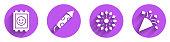 Set LSD acid mark, Firework rocket, Firework and Festive confetti icon with long shadow. Vector