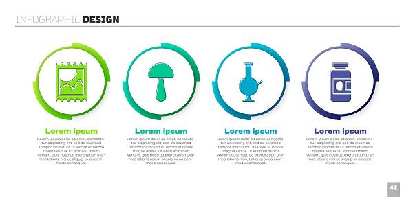 Set LSD acid mark, Psilocybin mushroom, Glass bong for smoking marijuana and Medicine bottle and pills. Business infographic template. Vector