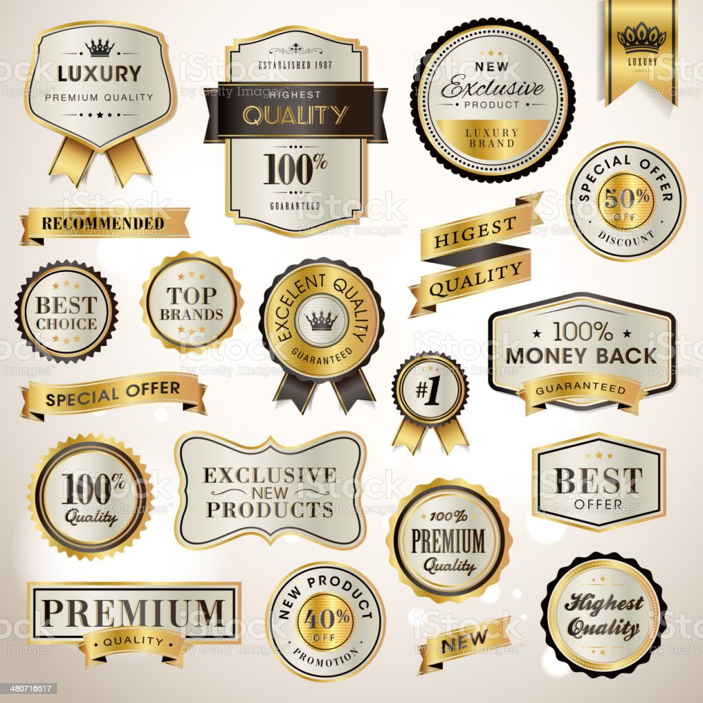 Set luxury labels and ribbons for sale vector art illustration