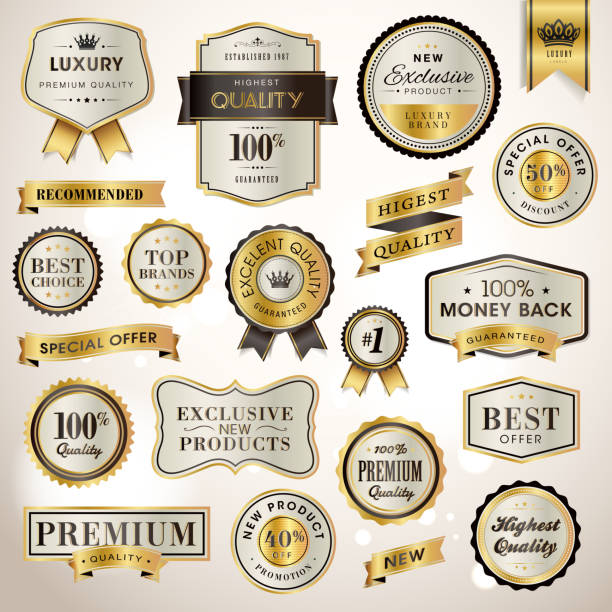 stockillustraties, clipart, cartoons en iconen met set luxury labels and ribbons for sale - exclusief