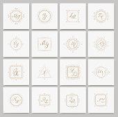 Set luxury monogram  template with flourishes ornament elements. Elegant design for business sign, restaurant, wedding shop, jewelry, fashion. Vector illustration.