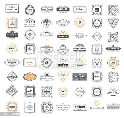 Set luxury monogram template with flourishes ornament elements. Elegant design for business sign, restaurant, wedding shop, jewelry, fashion. Vector illustration.