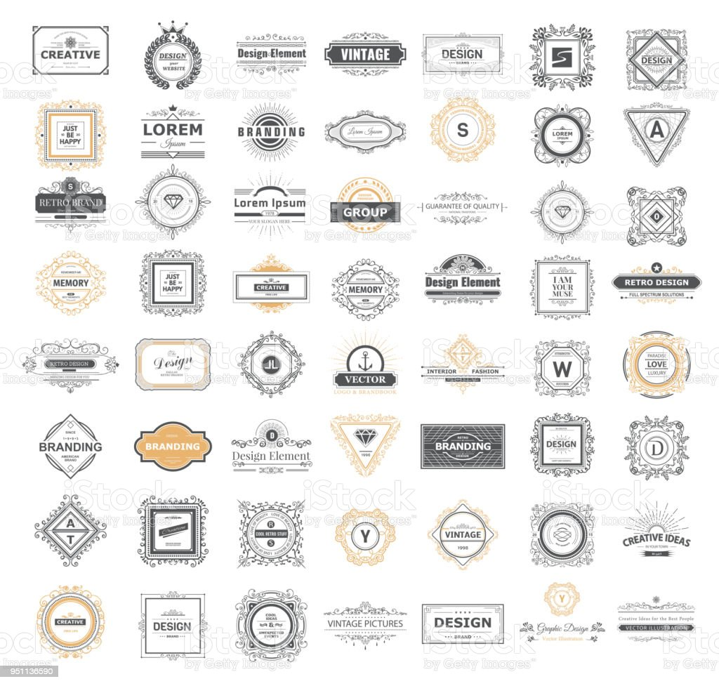 Set luxury sign vector art illustration