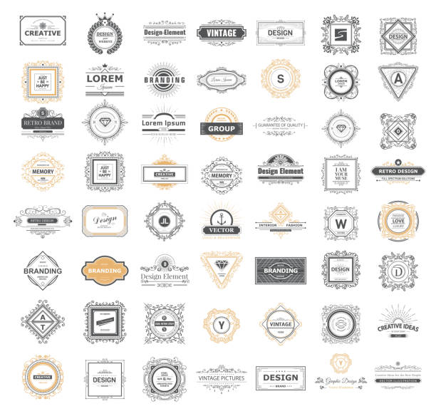 set luxury sign - retro and vintage frames stock illustrations, clip art, cartoons, & icons