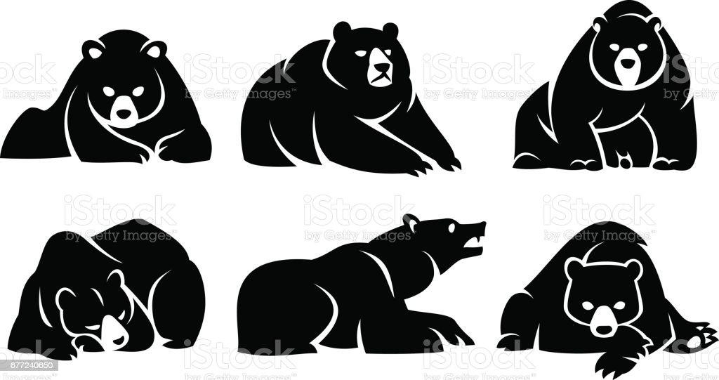 Set lying bears vector art illustration