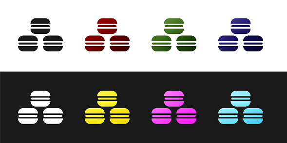 Set Macaron cookie icon isolated on black and white background. Macaroon sweet bakery. Vector