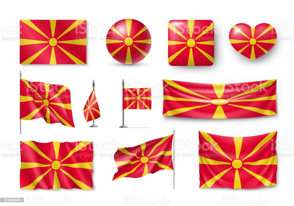 Set Macedonia flags, banners, banners, symbols, flat icon vector art illustration