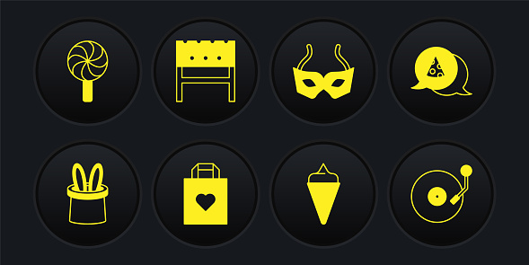 Set Magician hat and rabbit ears, Slice of pizza, Shopping bag with heart, Ice cream waffle cone, Festive mask, BBQ brazier, Vinyl player disk and Lollipop icon. Vector
