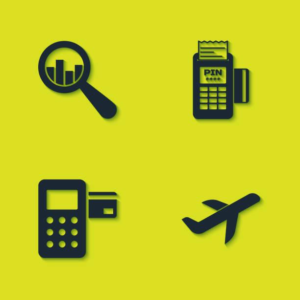 einstellen lupe und analyse, ebene, pos-terminal und pos-symbol. vektor - kassenbon grafiken stock-grafiken, -clipart, -cartoons und -symbole