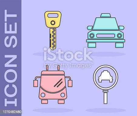 Set Magnifying glass and taxi car, Car key, Trolleybus and Taxi car icon. Vector