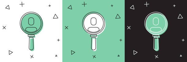 Set Magnifying glass for search a people icon isolated on white and green, black background. Recruitment or selection. Search for employees and job. Vector Set Magnifying glass for search a people icon isolated on white and green, black background. Recruitment or selection. Search for employees and job. Vector. one man only stock illustrations