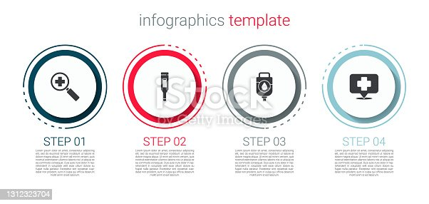 istock Set Magnifying glass for search medical, Medical digital thermometer, IV bag and Map pointer with cross hospital. Business infographic template. Vector 1312323704