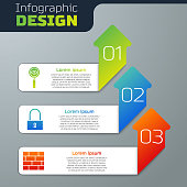 Set Magnifying glass Search, Lock and Bricks. Business infographic template. Vector