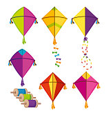 set makar sankranti kites to festival celebration vector illustration