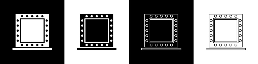 Set Makeup mirror with lights icon isolated on black and white background. Vector Illustration