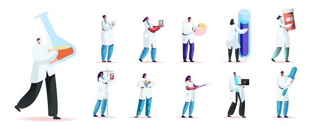Set Male and Female Characters in Medical Robe Holding Medic Things. Men and Women with Beaker, Glass Flask and Dropper