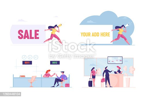 istock Set Male Female Characters Visit Bank. People Communicate with Banking Operator, Stand in Queue in Airport for Boarding 1263446104