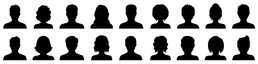 Set man and woman head icon silhouette. Male and female avatar profile sign, face silhouette logo – stock vector