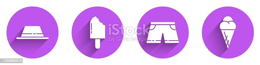 Set Man hat with ribbon, Ice cream, Swimming trunks and Ice cream in waffle cone icon with long shadow. Vector