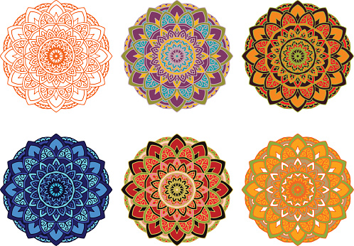 set mandala different color