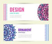 Set Mandala ornament design. Indian floral medallion banners. Elegant cover. Decorative ornate circle mandala. Vector illustration.