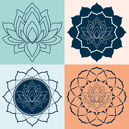 Set Mandalas Lotus Flower