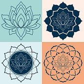 Vector Illustration with a Set Mandalas of Lotus Flower