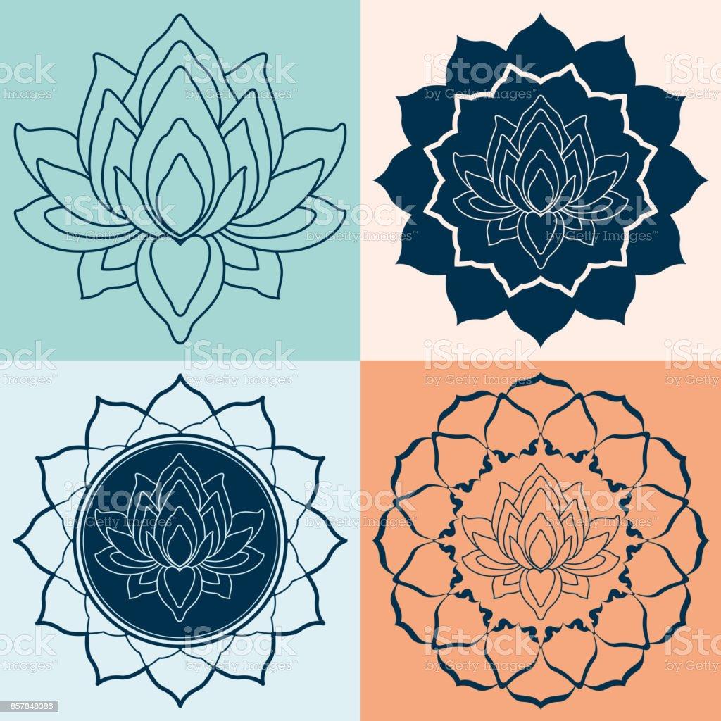 Set Mandalas Lotus Flower vector art illustration