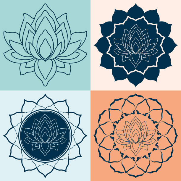 Fleur de Lotus Mandalas Set - Illustration vectorielle
