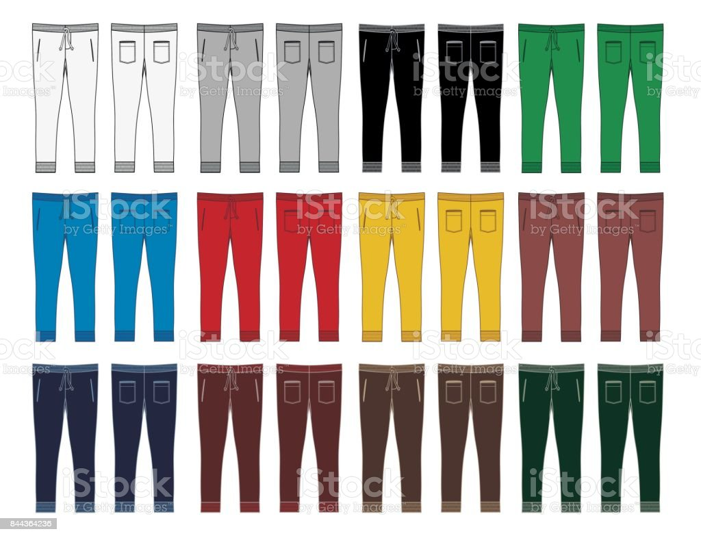 set mans Fashion trousers colorful vector art illustration