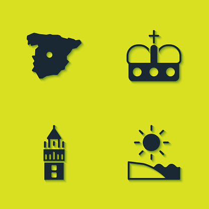 Set Map of Spain, Beach, Giralda and Crown spain icon. Vector