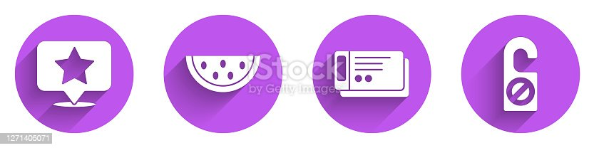 istock Set Map pointer with star, Watermelon, Travel ticket and Please do not disturb icon with long shadow. Vector 1271405071