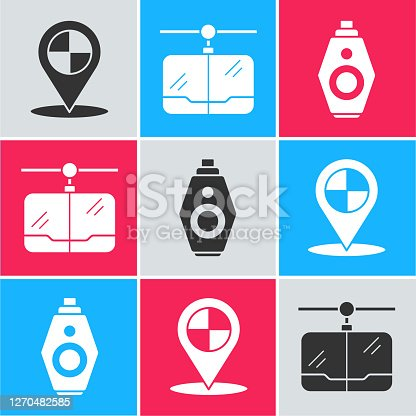 Set Map pointer with taxi, Cable car and Car key with remote icon. Vector