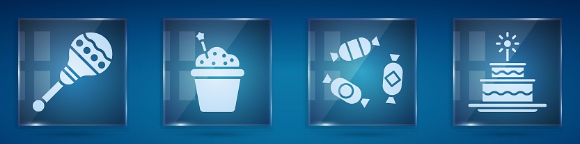 Set Maracas, Cake, Candy and Cake with burning candles. Square glass panels. Vector