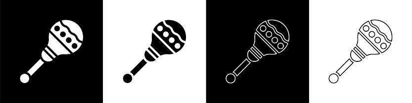 Set Maracas icon isolated on black and white background. Music maracas instrument mexico. Vector Illustration