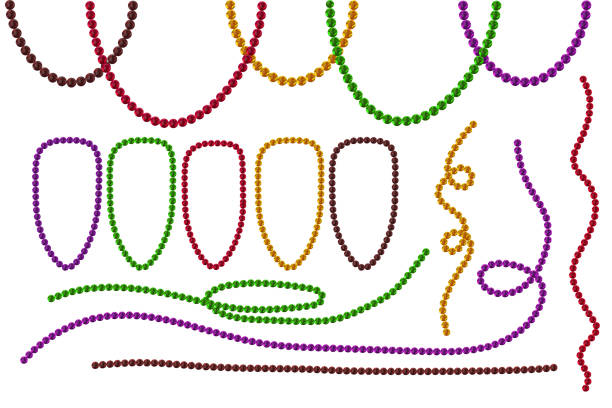 Set Mardi Gras beads isolated on white background. Multi color Mardi Gras beads in traditional colors. Decorative glossy realistic elements for celebratory design, Mardi gras decorations.Stock vector bead stock illustrations