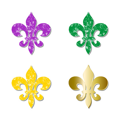 Set  Mardi Gras heraldic lily