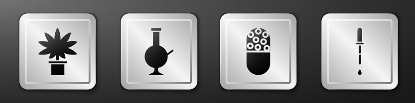 Set Marijuana or cannabis plant in pot, Glass bong for smoking marijuana, Medicine pill or tablet and Pipette icon. Silver square button. Vector