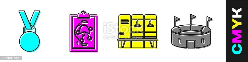 Set Medal, Planning strategy, Locker or changing room and Hockey stadium icon. Vector