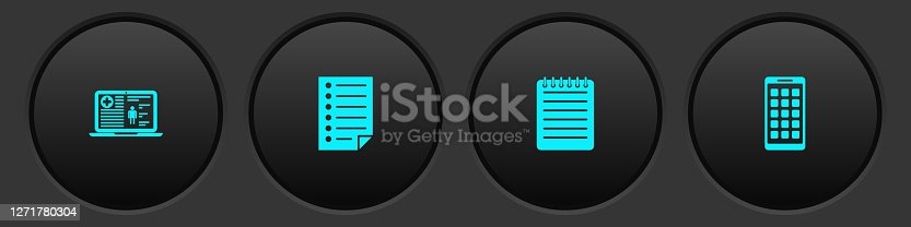 Set Medical clinical record, Document, Notebook and Mobile Apps icon. Vector.